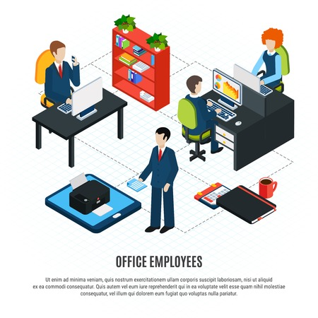 Business people isometric flowchart composition with editable text and human characters of office workers and furniture vector illustration Ilustração