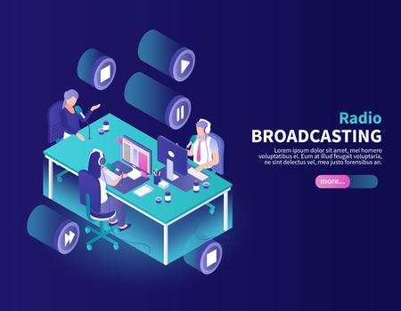 Fondo di colore di trasmissione radiofonica con l'annunciatore e i giornalisti al posto di lavoro isometrico illustrazione vettoriale