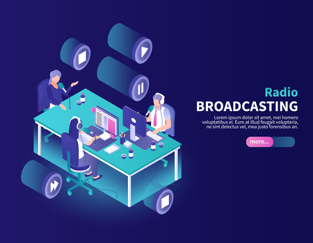 Radio broadcasting color background with announcer and newscasters at working place isometric vector illustration Ilustração