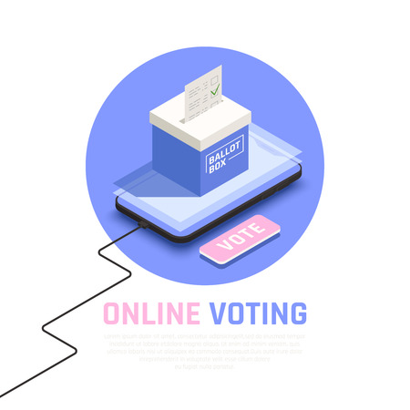 Elections and voting isometric concept with online voting symbols vector illustration Illustration
