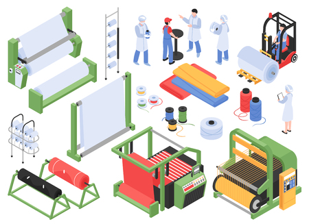 Set of isometric textile factory production isolated images with industrial machinery storage facilities and personnel characters vector illustration Stock Illustratie