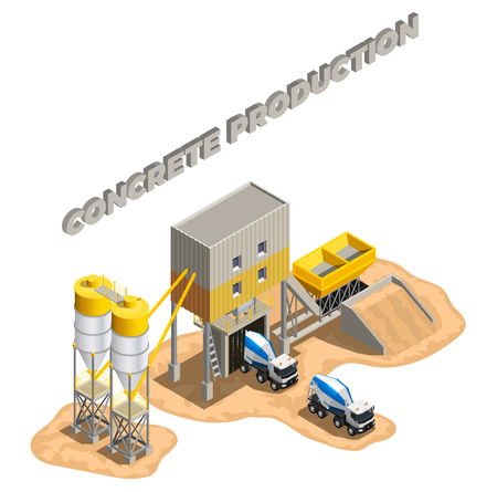 Concrete production isometric composition with editable text and factory buildings cement mixing plant facilities with conveyors vector illustration