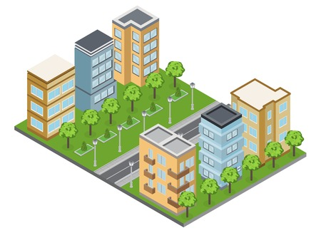 Suburb buildings and neighborhood with town houses and apartments isometric vector illustration Illustration