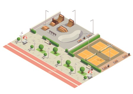 Environnement de sport récréatif du parc de la ville moderne pour la planche à roulettes, le patin à roues alignées, le cyclisme, le tennis, la composition isométrique, l'illustration vectorielle