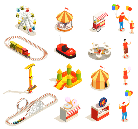 Amusement park attractions and visitors isometric icons set isolated on white background 3d vector illustration Stock Illustratie