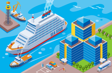 Seaport isometric colored concept with big ship named sea star sailing in the port vector illustration Illustration