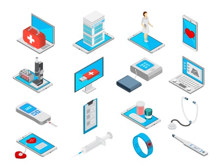 Mobile medicine isometric icons set with treatment symbols isolated vector illustration Illustration