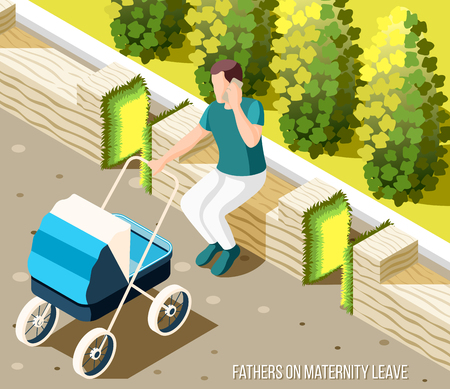 Fathers on maternity leave isometric background with male character sitting on bench in city park rocking baby stroller and speaking by phone vector illustration Illustration