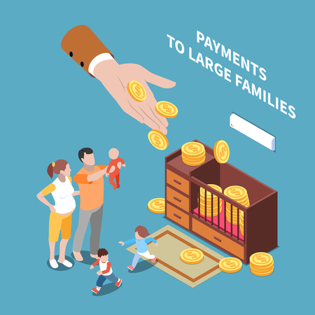 Social security unemployment benefits unconditional income isometric composition with human hand sharing coins with long family vector illustration
