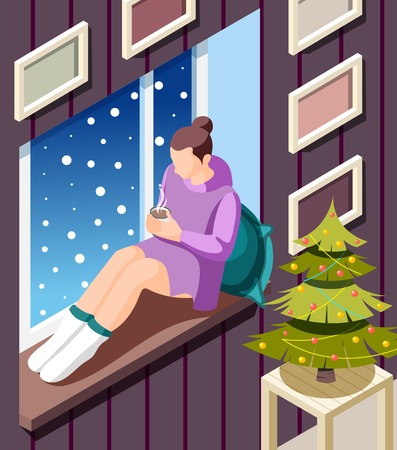 Cozy winter isometric background with young woman sitting on windowsill warming up with hot cocoa at christmas tree vector illustration