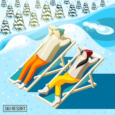 Visitors of ski resort during sun bathing on background of snowy spruces and river isometric vector illustration