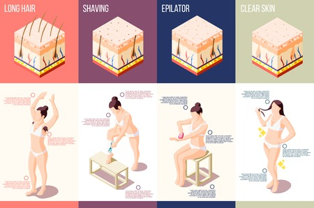 Isometric composition with woman doing different hair removal procedures 3d isolated vector illustration