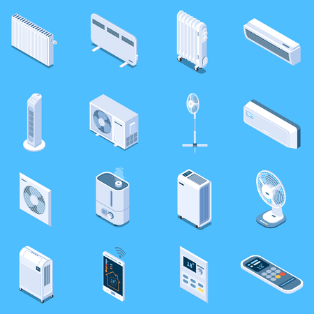 Home climate control isometric icons with floor table and tower fans air conditioner heat curtain electric and oil heaters isolated vector illustration Vetores