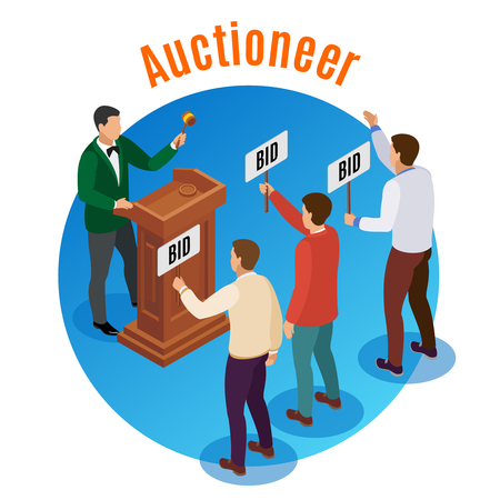 Round auction isometric emblem with auctioneer and three men with tablets in their hands vector illustration