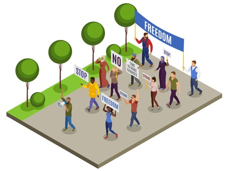 Activists isometric composition with group of people with posters loudspeakers on city street background vector illustration