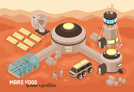 Isometric mars colonization landscape composition with text and martian terrain with extraterrestrial base buildings and people vector illustration