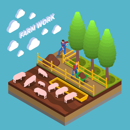 Agricultural isometric composition with farmers engaged in swine breeding and gardening vector illustration