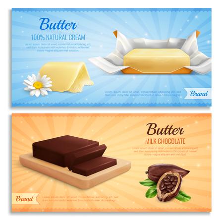 Banner realistici di burro come mockup per il marchio pubblicitario producono cioccolato al latte e illustrazione vettoriale di burro di crema naturale