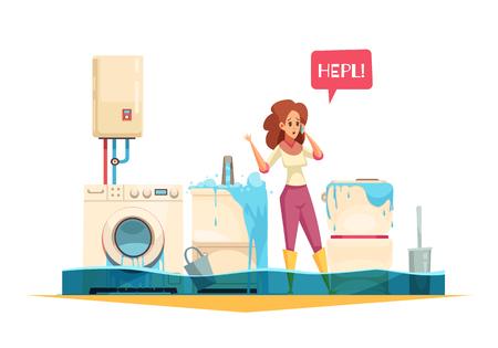 Wasmachine overstroming gootsteen overloop pijp lekt nood cartoon samenstelling met vrouw bellen loodgieter service vectorillustratie Vector Illustratie