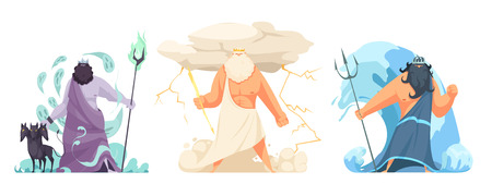 Three powerful ancient greek brothers gods horizontal set with hades zeus and poseidon cartoon isolated vector illustration