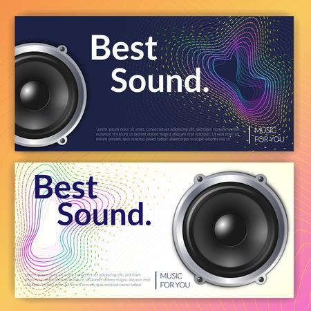 Realistischer Audiosystemsatz horizontaler Fahnen auf hellem und dunklem Hintergrund lokalisierte Vektorillustration