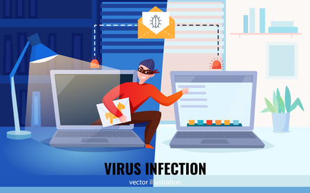 Flat hacker computers composition with virus infection headline and hacker steal information vector illustration