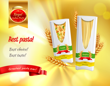 Colored pasta advertisement realistic banner with best pasta best choice best taste headlines vector illustration