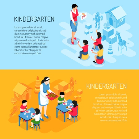 Kindergarten isometric banners kids during eating and learning of count on blue orange background isolated vector illustration