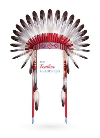 Traditional indian embroidered headdress of native american made with feathers isolated on white background realistic vector illustration
