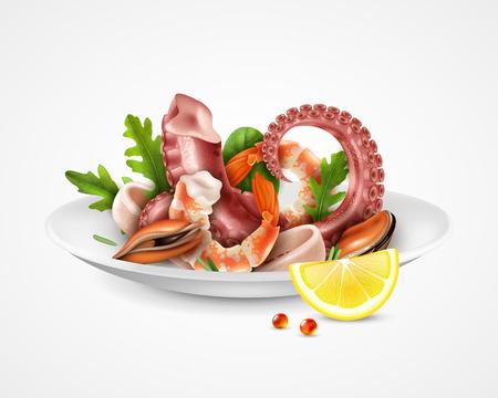 Assiette de service de cocktail de fruits de mer image agrandie réaliste avec des crevettes moules tentacules de poulpe tranches de calmar rucola illustration vectorielle