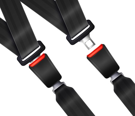 Set of realistic transportation seat belts with textured black strap on white background vector illustration