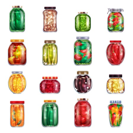 Pickles set of sixteen isolated mason jars filled with marinated fruits and vegetables on blank background vector illustration Ilustração