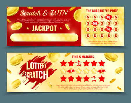 Two different design versions of scratch lottery card mockup with win jackpot and guaranteed prize promotion isolated vector illustration