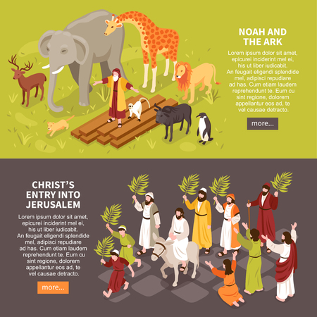Set of two isometric bible narratives horizontal banners with text description characters of people and animals vector illustration