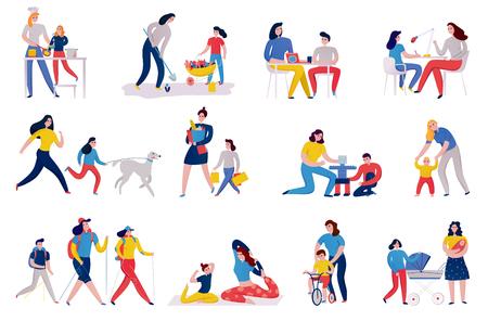 Conjunto de iconos de la madre y los niños durante la plantación de flores, cocina, compras y ejercicios de yoga, ilustración vectorial aislada Ilustración de vector