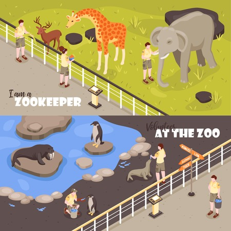 Set of two isometric zoo workers horizontal banners with view of enclosures with animals and text vector illustration Illustration