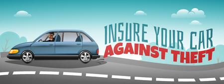 Seguro de automóvil que cubre el cartel horizontal colorido del robo con el coche que acelera por la carretera y la ilustración de vector de texto de advertencia