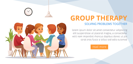Group therapy cartoon banner with solving problems together headline place for text and orange button vector illustration