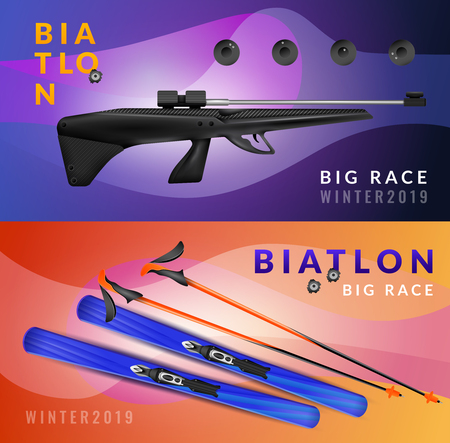 Two horizontal realistic biathlon banner set with big race winter and equipment vector illustration