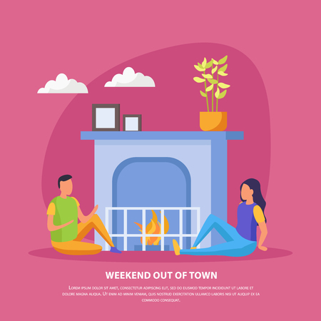 Lazy weekends people flat background with weekend out of town description and romantic date of couple vector illustration Çizim