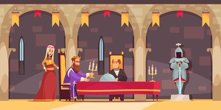 Medieval castle royal dining hall area interior flat cartoon composition with king being served meal vector illustration