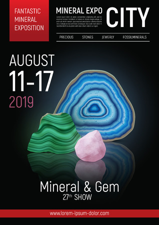 Colored and realistic stone mineral expo poster with fantastic mineral exposition headline vector illustration  イラスト・ベクター素材