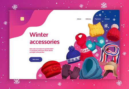 Seasonal winter scarf hats concept banner website design with images and clickable links with editable text vector illustration