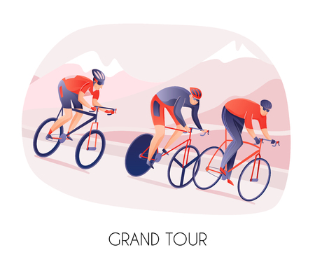Athletes men in sports wear on bikes during cycling tour on mountains background vector illustration Ilustrace