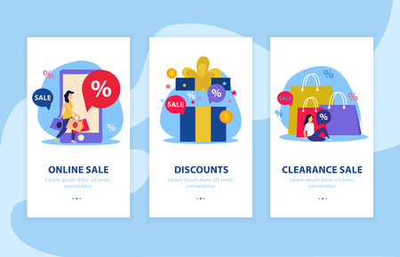 Great sale flat landing page with three elements or banner set with online and clearance sale discounts descriptions vector illustration