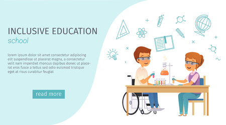 Inclusion inclusive education cartoon banner with school headline and blue read more button vector illustration Illustration