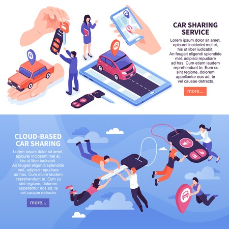 Cloud based car sharing service horizontal banners set 3d isometric isolated vector illustration