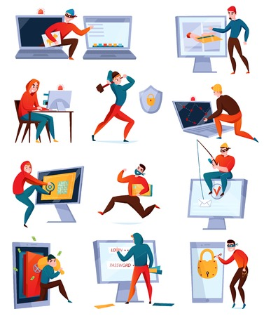 Hacker icon set with different types of hackers stealing information breaking computer system vector illustration Illustration