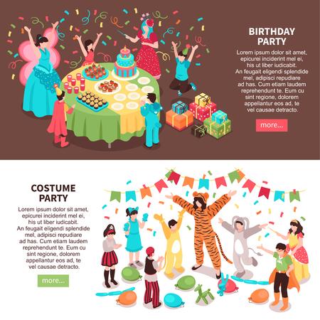 Bannières horizontales isométriques d'animateur pour enfants avec des personnages pour enfants et des artistes en costumes de fête avec illustration vectorielle de texte