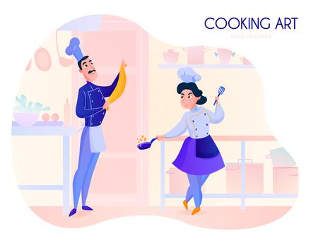 Two cooks working in restaurant kitchen cartoon vector illustration